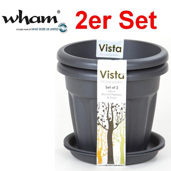 Wham® 14979 Pflanzkübel rund 18 cm 2-Stück mit Untersetzer Graphit ...