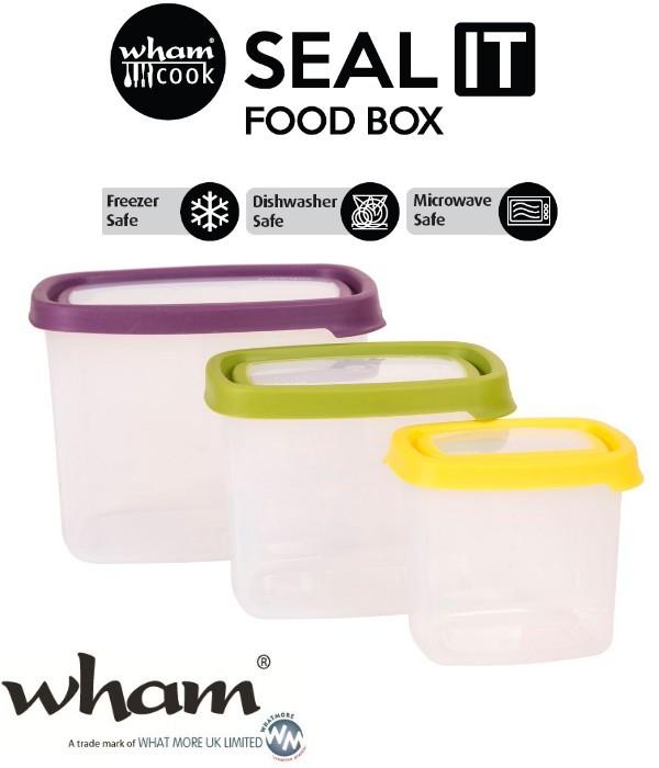 Wham® 40560 SEAL IT Food Box Vorratsbehälter 3er Set mit verschieden farbigen Deckeln