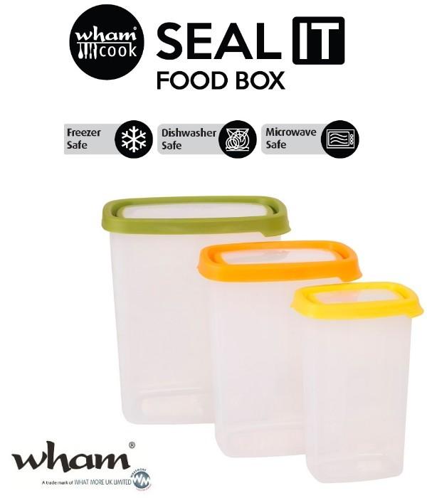 Wham® 40580 SEAL IT Food Box Vorratsbehälter 3er Set mit verschieden farbigen Deckeln
